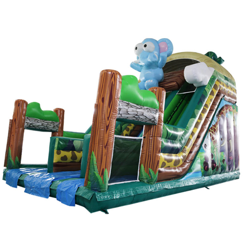 New design Zoo theme type cheap inflatable slides with full certification for sale