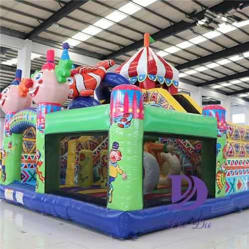 circus theme bouncer house with slide for sale