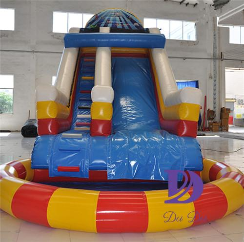 Sea world theme cheap water slides with a detachable pool