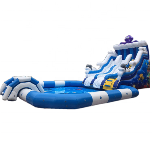Sea world theme kids inflatable water slide for sale