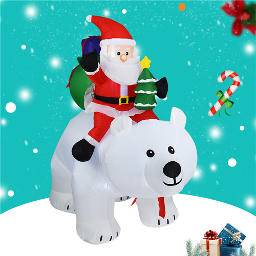 New design Christmas inflatables Santa Claus Riding A Shaking Bear Garden Decoration